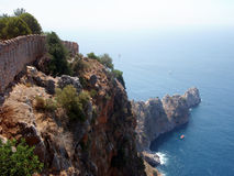 Alanya castle rock. The edge of the rock under the castle in Alanya, Turkey with ancient wall royalty free stock photography