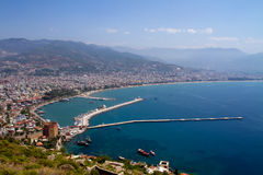 Alanya city and harbor Royalty Free Stock Photography