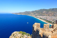Alanya cityscape. Cleopatra's beach Royalty Free Stock Photography