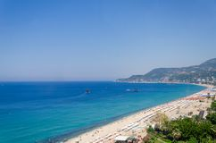 Alanya Coast in summer in Turkey. The photo was taken from the cable car descending from Alanya Castle stock photo