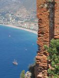 Alanya coast view. And part of ancient wall Stock Images