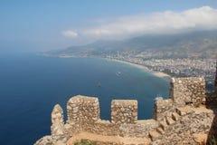 alanya grodowego wieka wybrzeża forteczny czerep lokalizować śródziemnomorskiego halnego morza wierzchołka indyka xiii Obrazy Royalty Free