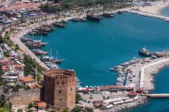 Alanya harbor front red tower. Turkey Royalty Free Stock Images