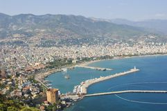 Alanya harbour. And red tower Stock Photo
