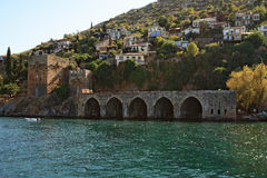 Alanya haven and fortress wall Royalty Free Stock Photography