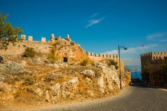 Alanya Kalesi. Brick ancient castle wall. Alanya, Turkey. Wonderful country. Ruins of the fortress of Alanya.Brick wall. Castle in. Turkey stock photos