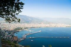 Alanya półwysep, Alanya, Turcja Turystów statki na morzu śródziemnomorskim Obrazy Stock