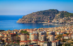 Alanya panorama. View of Alanya from mountains. Turkey, Mediterranean Sea Stock Photos