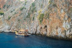 Alanya peninsula, Alanya, Turkey. Tourist ships on the Mediterranean Sea Stock Image