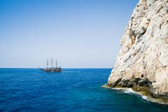 Alanya peninsula, Alanya, Turkey. Tourist ships on the Mediterranean Sea Royalty Free Stock Photography