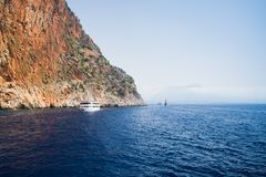 Alanya peninsula, Alanya, Turkey. Tourist ships on the Mediterranean Sea Stock Photo