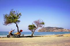 Alanya peninsula view from beach Stock Photography