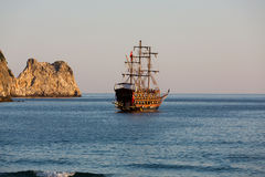 Alanya - the pirate ship at the beach of Cleopatra. Stock Image