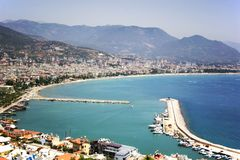 Alanya port, Famous tourist destination with high mountains. Part of ancient old Castle stock images