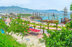 Alanya port through the greenery Royalty Free Stock Photos
