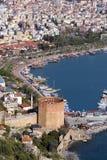 Alanya portuário e torre Imagem de Stock Royalty Free
