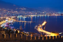 Alanya przy nocą Zdjęcia Royalty Free