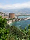 Alanya - torre e porto vermelhos Fotos de Stock