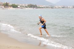 Alanya Triathlon, Antalya, Turkey. ANTALYA, TURKEY - SEPTEMBER 30, 2017: Athlete competing in swimming component of Alanya Triathlon Royalty Free Stock Image