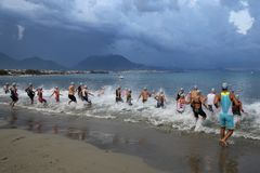 Alanya Triathlon, Antalya, Turkey. ANTALYA, TURKEY - SEPTEMBER 30, 2017: Athletes competing in swimming component of Alanya Triathlon Stock Images