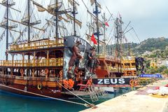 Pirate ships for tourists in the port of Alanya. Turkey. Alanya, Turkey - April 19, 2018: Pirate ships for tourist trips in the port Royalty Free Stock Photography