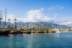 ALANYA, TURKEY-27 APRIL 2016: Tourist boats in old harbour Royalty Free Stock Image