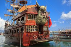 Alanya, Turkey - June 18, 2018: Pirate ships for tourist trips in the port stock photography