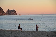 Evening in Cleopatra beach in Alanya Turkey stock images