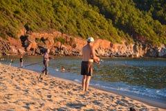 Evening in Cleopatra beach in Alanya Turkey royalty free stock photos