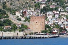 Alanyas' mediterranean coastline and Ottoman castle Stock Images