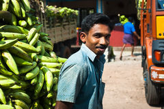Indian man with a cargo of banana Royalty Free Stock Image