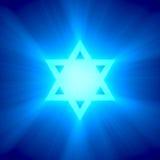 Alargamento claro azul da estrela de David Imagem de Stock Royalty Free