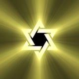 Alargamento da luz do sol da estrela de David Imagem de Stock Royalty Free
