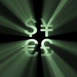 Alargamento do dinheiro dos sinais de moeda Foto de Stock Royalty Free