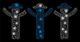 Alargamento Mesh Wire Frame Gentlemen Hands acima do Roundelay com pontos do alargamento ilustração royalty free