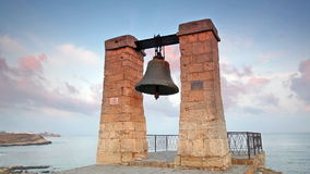 Alarm ancient bell on the bank of the Black Sea stock video