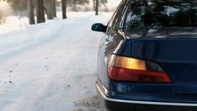 Alarm błyśnie na lewej stronie pojazd w zima parku Tylny widok od strony zbiory wideo