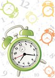 Alarm background. Colorful background with alarm and clock symbols on white Stock Photography