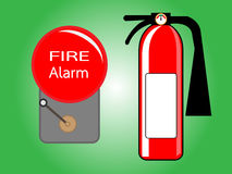 Alarm bell and Fire extinguisher Royalty Free Stock Image