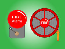 Alarm bell and Fire hose reel Stock Photos