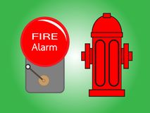 Alarm bell and Fire hydrant. Illustration .Red fire hydrant and Alarm bell  isolated on green background Stock Images