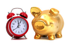 Alarm bell and golden piggy bank Stock Photography