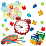 Alarm big red clock ,color balloons and books. Alarm big red clock with color balloons in the air,color books in the air,Back to school banner Royalty Free Stock Image