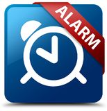 Alarm blue square button red ribbon in corner. Alarm isolated on blue square button with red ribbon in corner abstract illustration Royalty Free Stock Photo