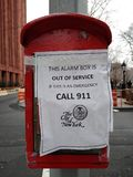 Alarm Box, Out of Service, Emergency, Call 911, City of New York, Greenwich Village, NYC, NY, USA. This photo was taken on March 10th 2019. alarm box out service royalty free stock images