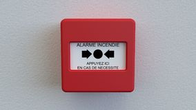 Alarm box. Triggering of alarm in case of fire Royalty Free Stock Photo
