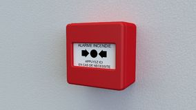 Alarm box. Triggering of alarm in case of fire Stock Photography