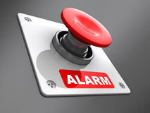 Alarm button. Abstract 3d illustration of red 'alarm' button mounted on wall royalty free illustration