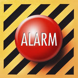 Alarm button. Red button with alarm white letters on diagonal orange and black background Stock Photography