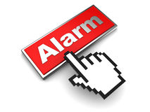 Alarm button. 3d illustration of red button with label 'alarm' over white background Royalty Free Stock Photo